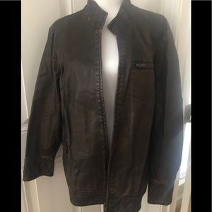 Women's XL Multiples brown faux leather bomber